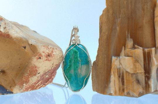 blue green gemstone pendant