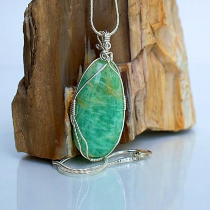 Green crystal pendant Amazonite gemstone jewelry