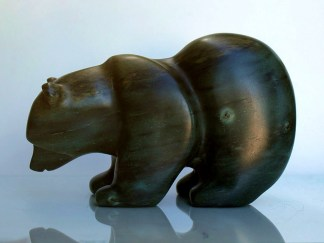 bowed head soapstone bear figurine