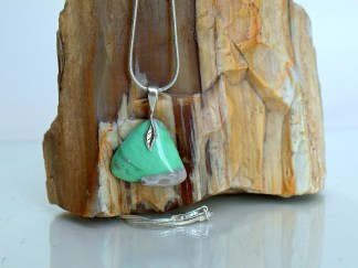 Apple green triangle shape gemstone with necklace