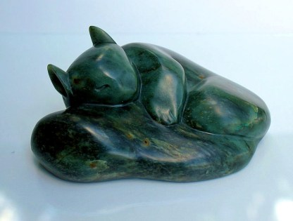 Stone squirrel carving, green authentic figurine