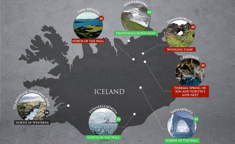 Mappa delle location di Game of Thrones in Islanda
