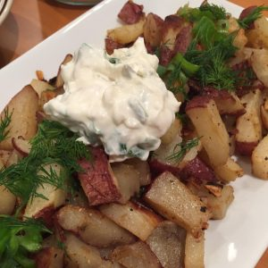 Oven Roasted Potatoes with Sour Cream + Onion