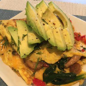 Egg omelette with avocado