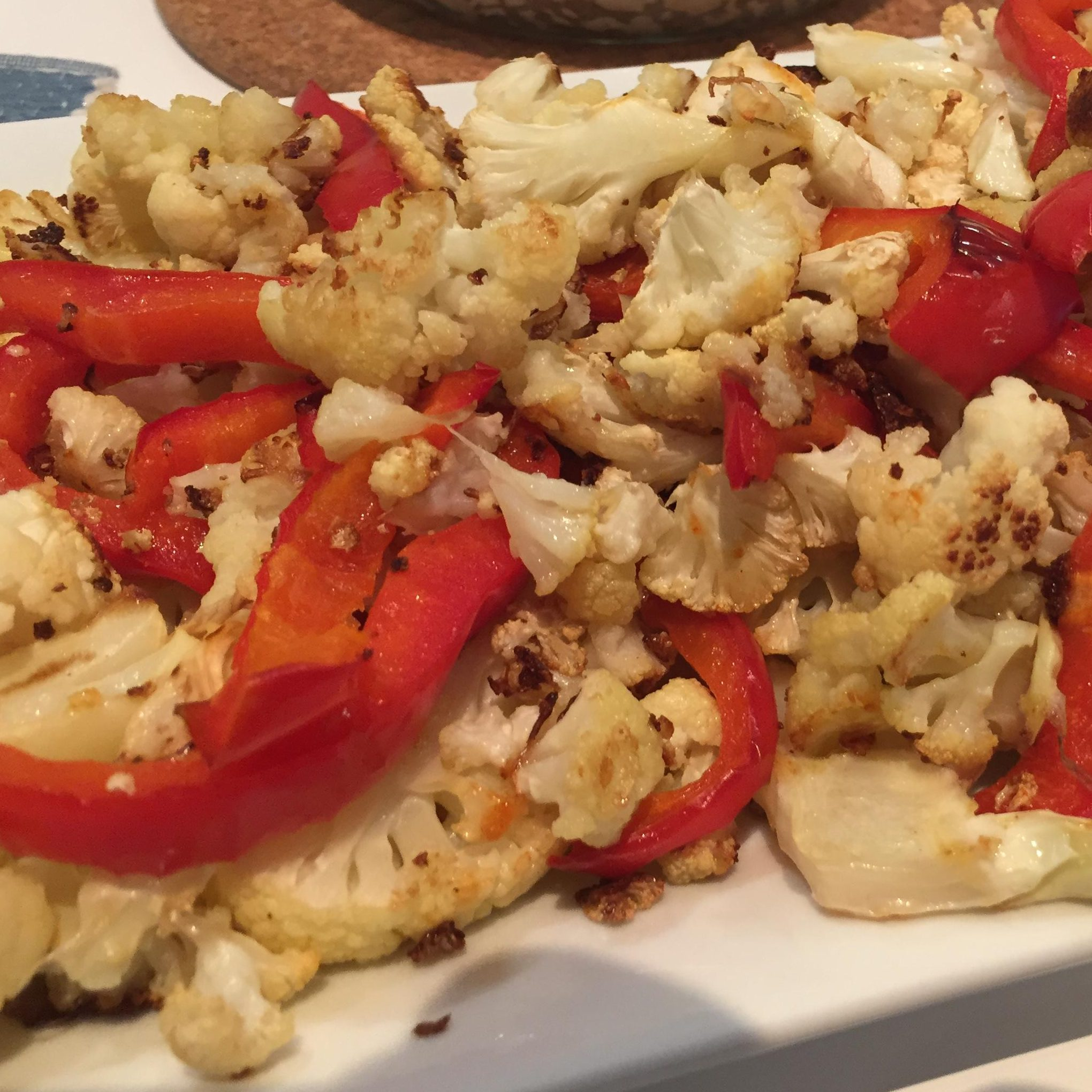 Roasted Cauliflower with Red Bell Peppers