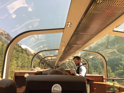 The panoramic roof of the Rocky Mountaineer