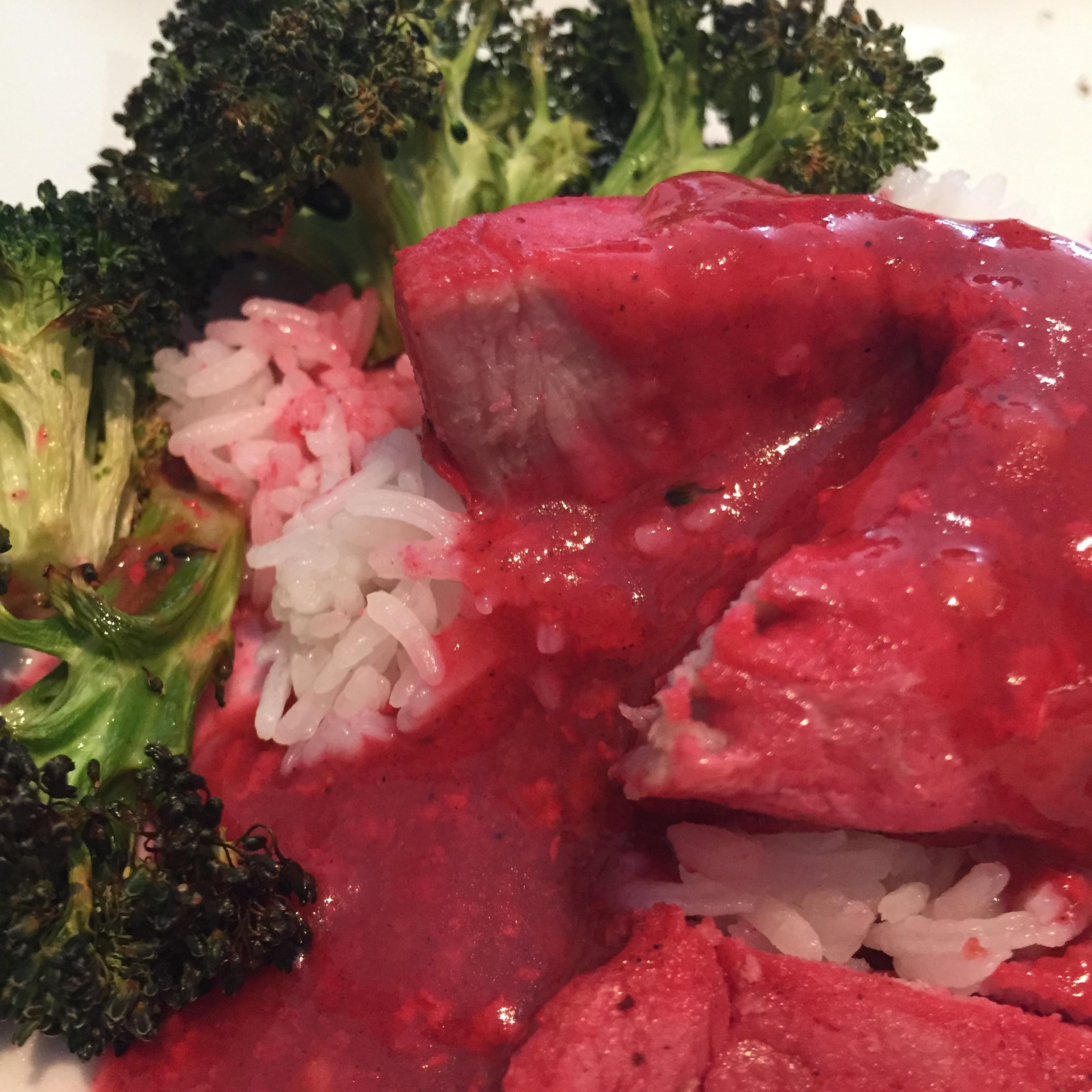 Chinese Roast Pork (Char Siu) with Rice and Brocolli