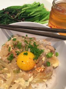Oyakodon - Japanese Chicken and Egg over Rice, served with yu choy and a glass of lager beer