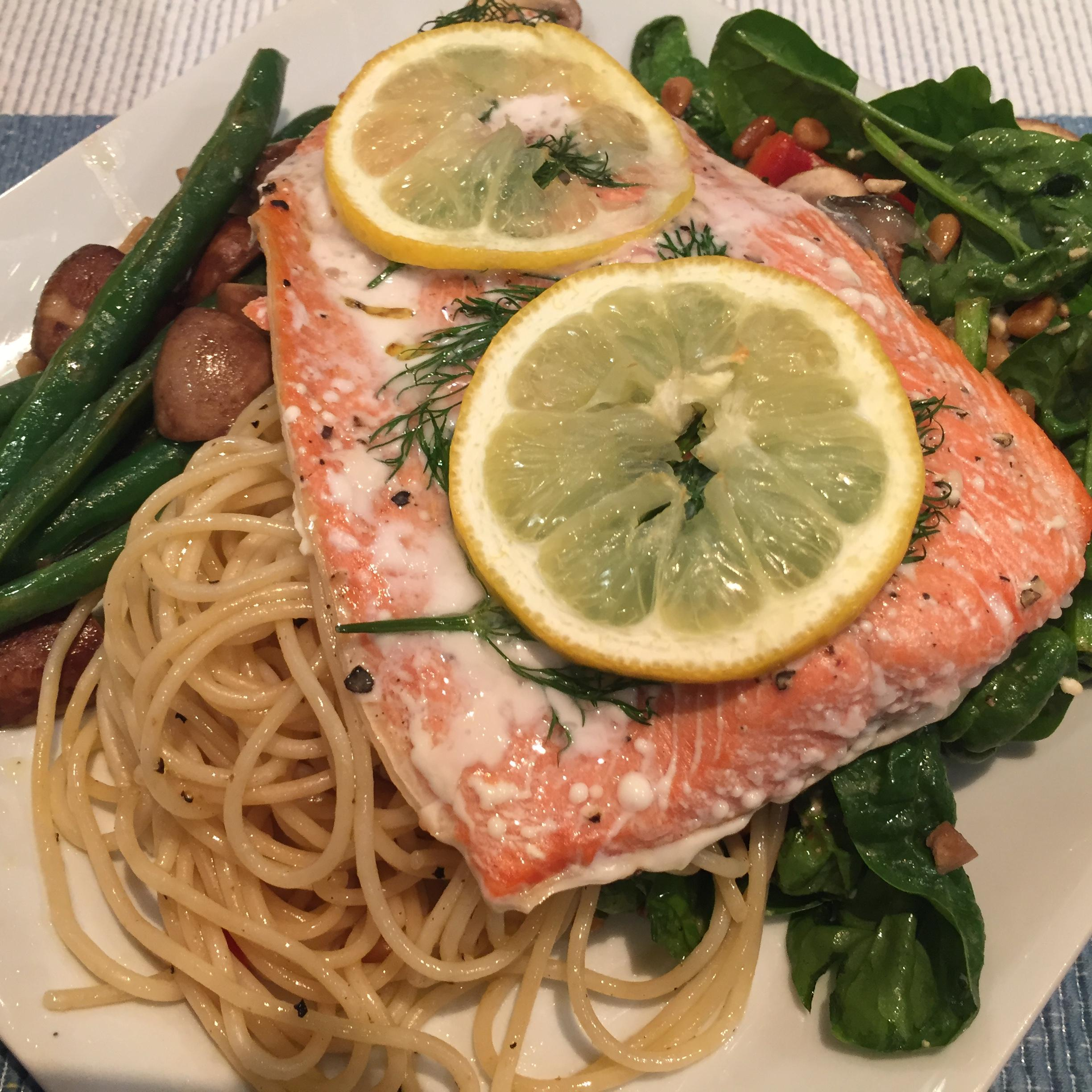 Baked Salmon with lemon and dill; simple pasta, spinach salad, green beans and mushrooms
