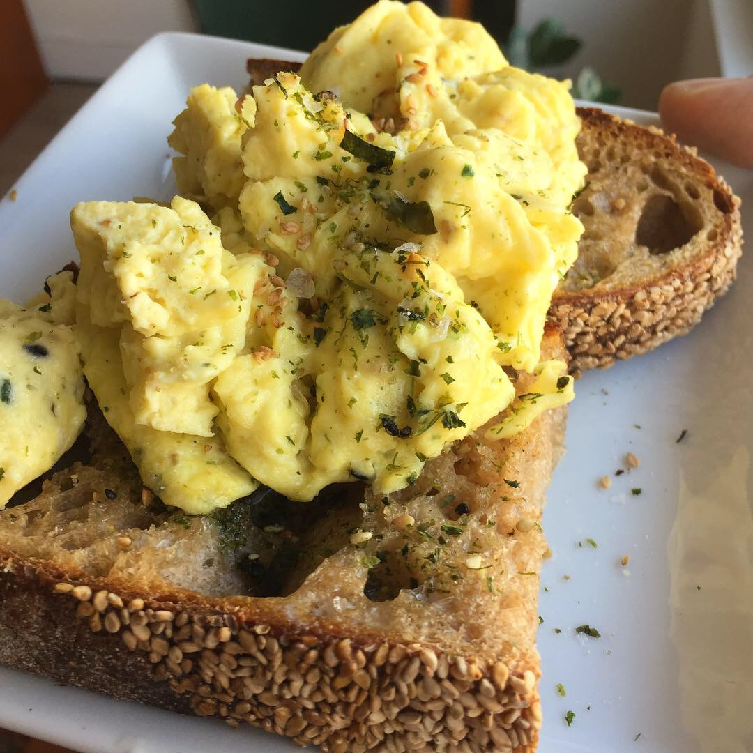 Nori Scrambled Eggs on Sesame Wheat Toast