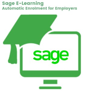 computer screen icon, with mortar hat icon representing Sage e-learning about auto enrolment for pensions