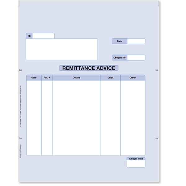 Sage remittance for laser printers 06412