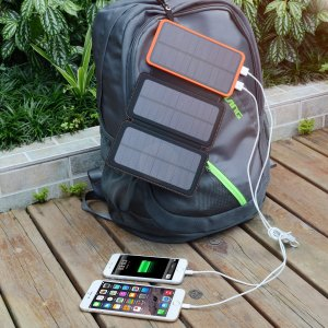 solar panel charger by rucksack photo