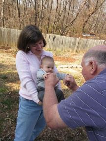 Aunt Chan and Kodi with Uncle Terry teaching him how to punch!