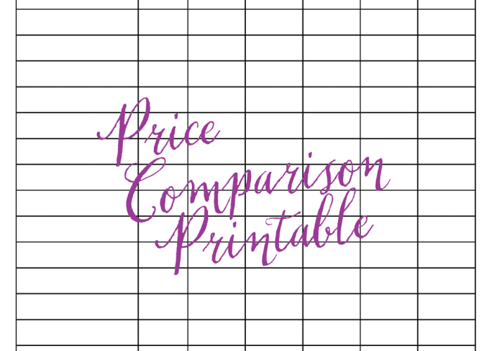 Price Comparison Printable