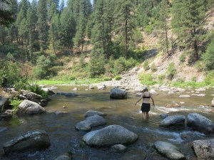Wading the Payette to our first hot spring of the tour