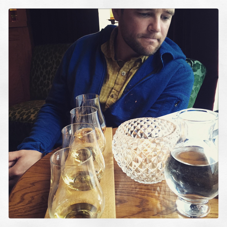 Adam samples some fine Speyside Single malts at the Quiach Bar