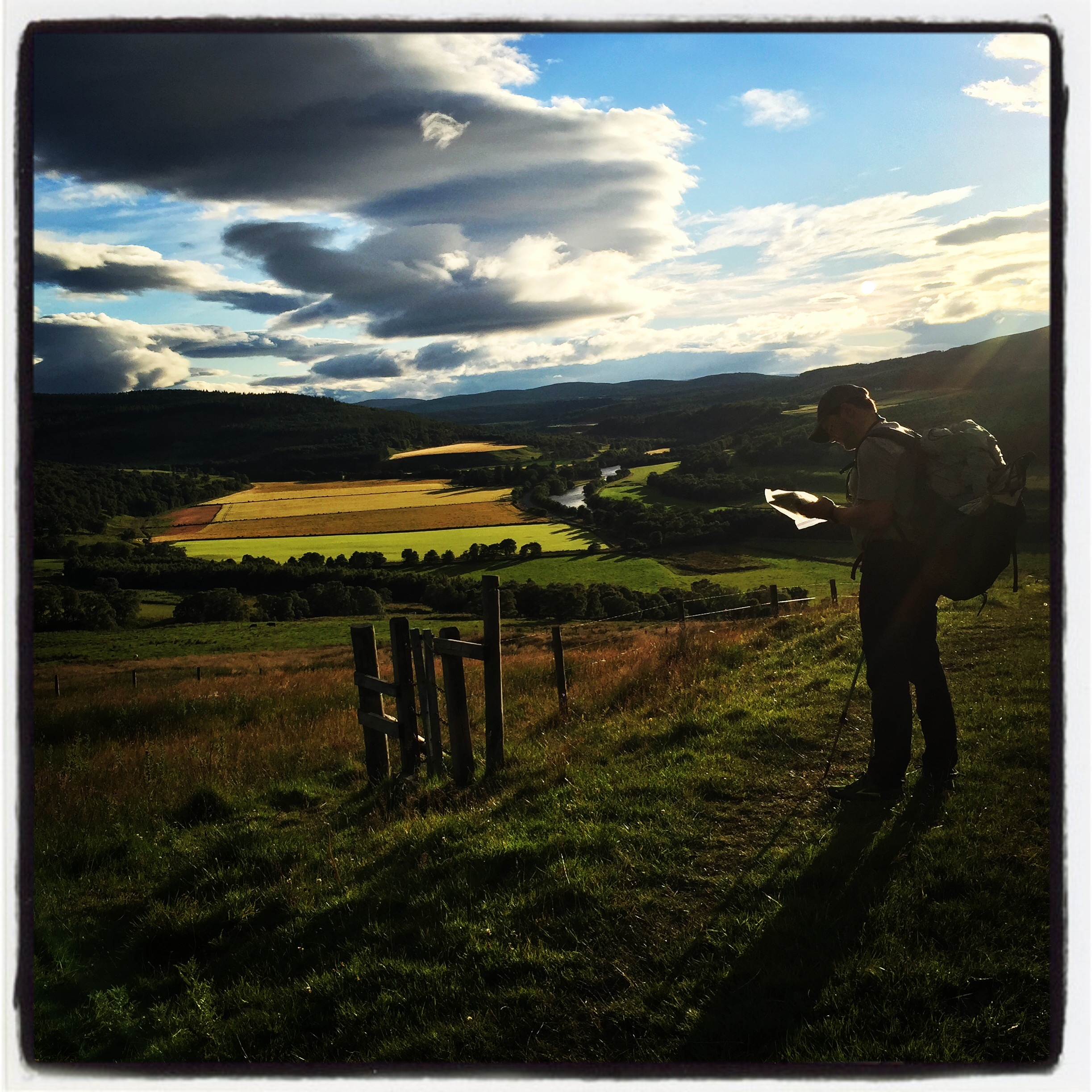 Fields of barley, golden light, and soft trails on the Speyside Way