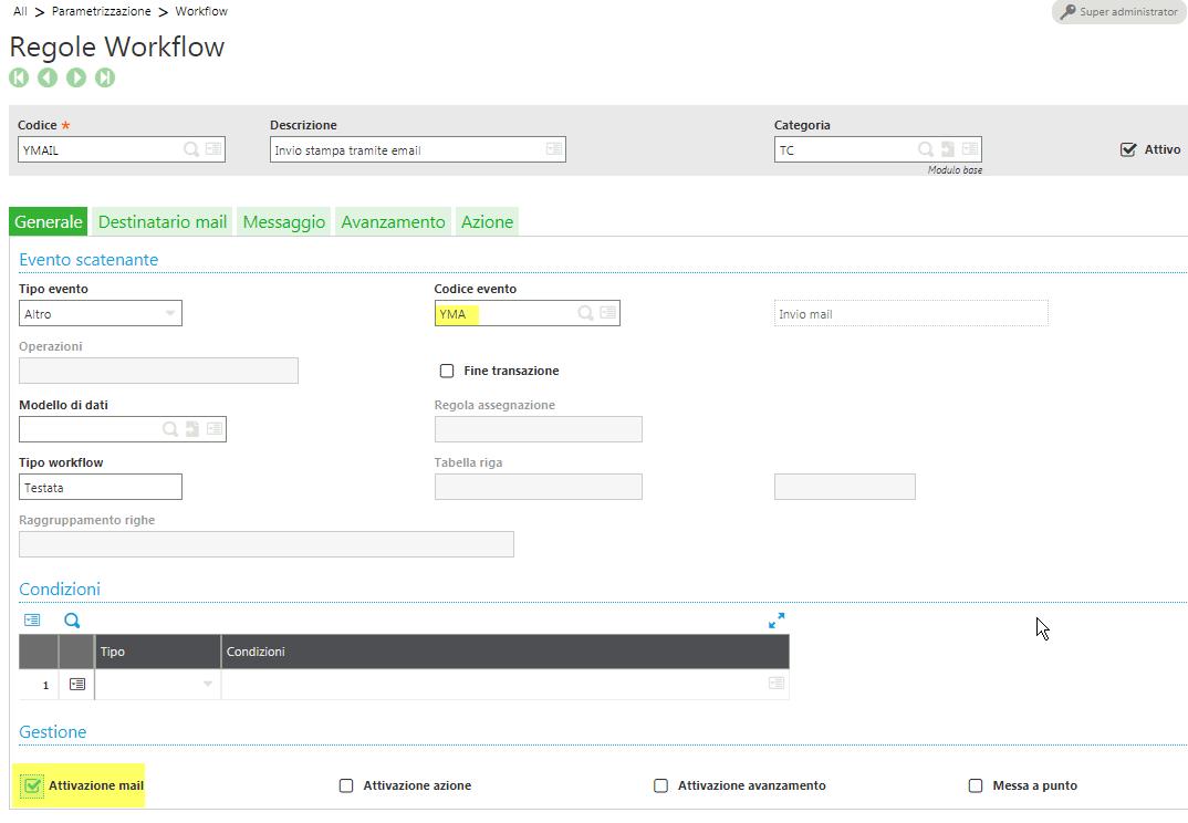 Sage v9 - GESAWA Workflow per invio mail