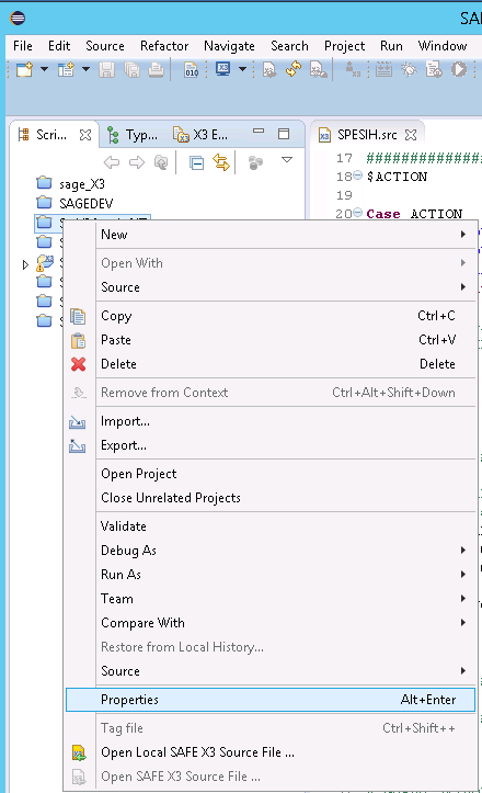 Sage X3 Eclipse Properties Project menu