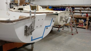 Sage 15 transom hardware in place prior to decking.