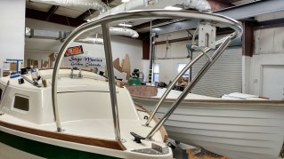 Sage 17 bow pulpit with bow light wire in place. Sage 15 hull in background.