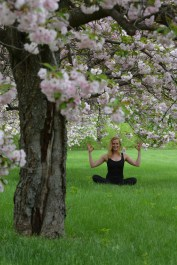 Tyra under a cherry tree