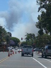 Carlsbad fire as seen from downtown about 2 miles away