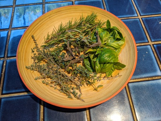 Fresh herbs from the garden for flavoring