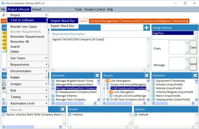 Text to Software importing text to build the Army Mission Planning Tool