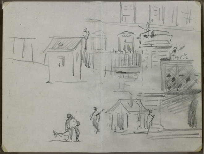 Édouard Manet - Recto : Le pont de l'Europe - Croquis pour Le chemin de fer (1872-1873, Washington, National Gallery of Art) - 1872 - Mine de plomb sur double page de carnet, papier vélin