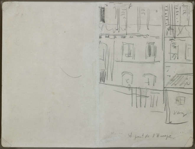 Édouard Manet - Verso : La rue de Saint-Pétersbourg - Croquis pour Le chemin de fer (1872-1873, Washington, National Gallery of Art) - 1872 - Mine de plomb sur double page de carnet, papier vélin