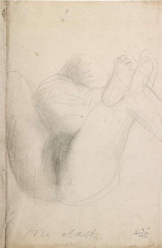 Augustin Rodin - Joie - écarts - Femme couchée, jambes écartées - vers 1900 - Graphite et estompe sur vélin