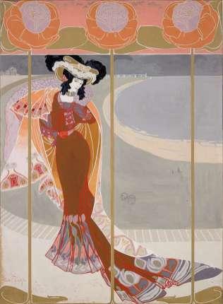 Georges de Feure - Elégante sur la plage - 1901-1905 - Gouache sur vélin