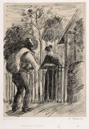 Camille Pissarro - Mendiant et paysanne - vers 1897 - Lithographie.
