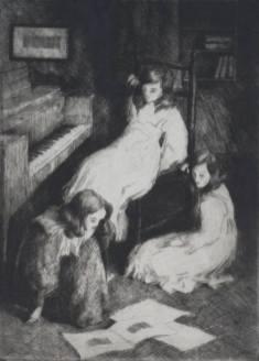 Alfredo Müller - Les trois petites filles (après la leçon) - 1898