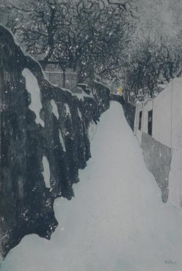 Alfredo Müller - Montmartre, la rue Saint Vincent en hiver - 1899