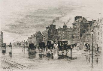 Félix Buhot - Une matinée d'hiver au quai de l'Hôtel-Dieu ou Les fiacres