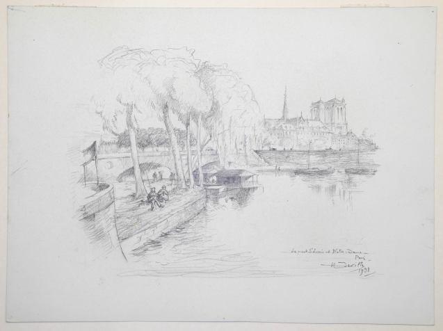 Henry Deville - Le pont Saint Louis et Notre Dame, Paris - Recto