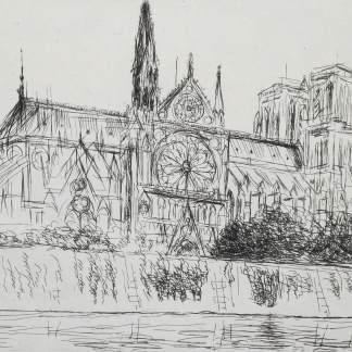 André Dunoyer de Segonzac - Notre Dame de Paris vue du quai Montebello