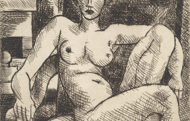 Marcel Gromaire. Nu au fauteuil ancien. 1928. Eau-forte. 237 x 177 mm. Gromaire 81.