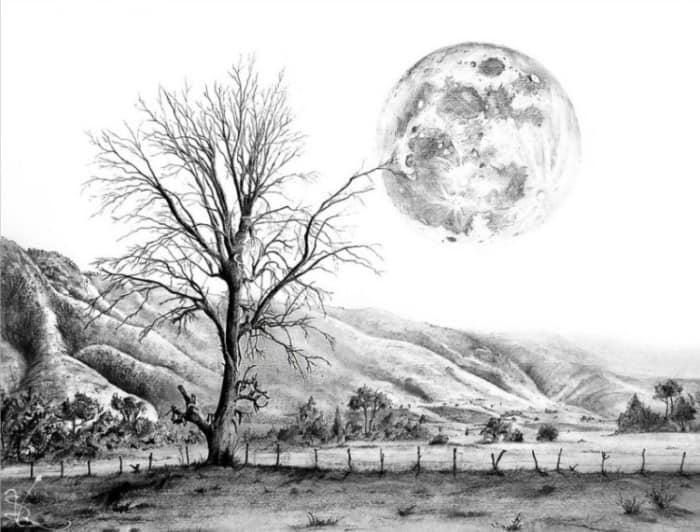 Sketsa Pemandangan Alam Pegunungan