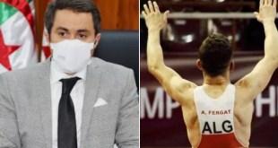 وزير الشباب والرياضة خالدي يهنئ المصارع عبد الكريم فرقات لحصوله على الميدالية البرونزية