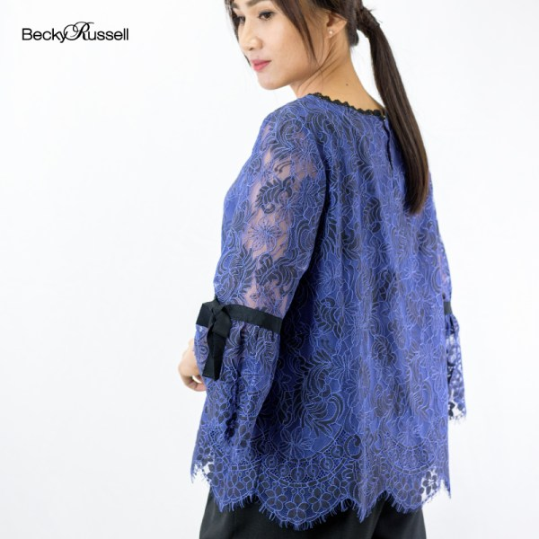 Becky Russell Becky Russell NEW ELEGANT LACE BOW SLEEVE BLOUSE PRB288