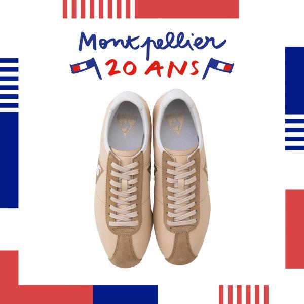 le coq sportif le coq sportif รองเท้าหนังแท้ผู้หญิง รุ่น Montpellier Leather W สีน้ำตาล รองเท้าสนีกเกอร์แฟชั่น รองเท้าลำลอง