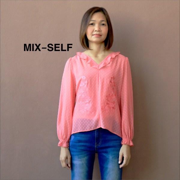Mix-Self MIX-SELF เสื้อเบลาส์ปักลายดอกไม้ รุ่น IB71327
