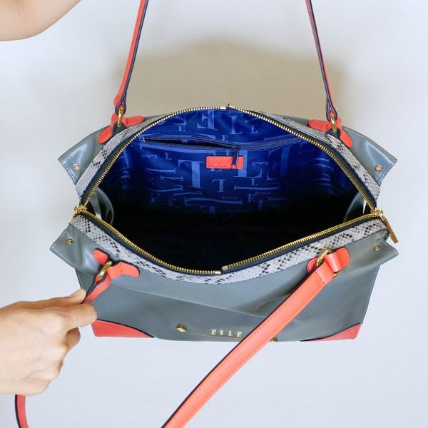 Elle Bag ELLE Bag กระเป๋าผู้หญิง สะพายไหล่ ผสมลายหนัง EXOTIC และสีคัลเลอร์บล็อค มี 2 สี สีดำ,เทา (EWH352)