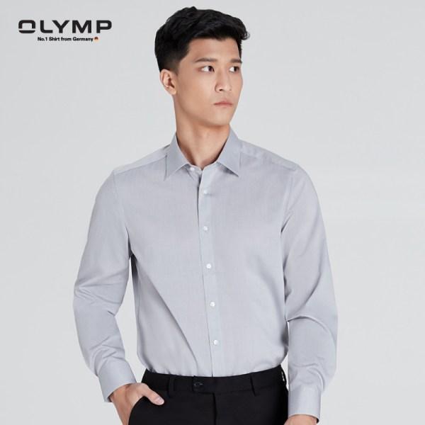 Olymp OLYMP เสื้อเชิ้ตแขนยาว ทรง Body Fit สีเทา