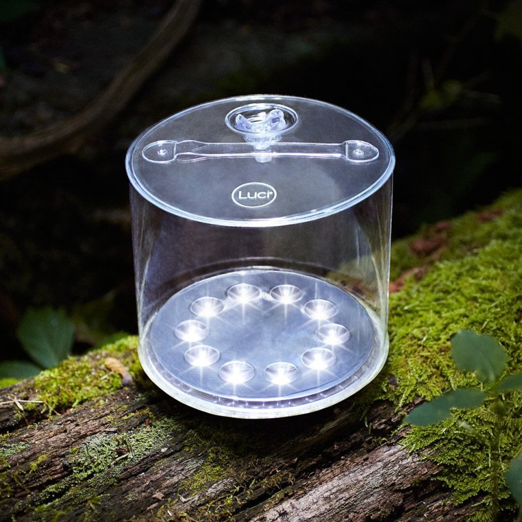 Bright solar light sitting on mossy tree