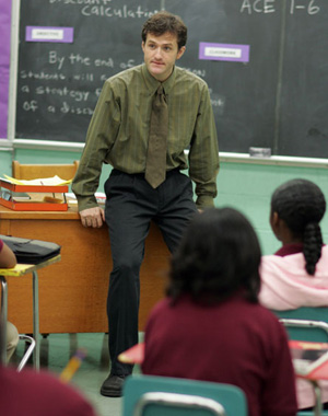 "Pryzbylewski from the show ""The Wire"" teaching a classroom."